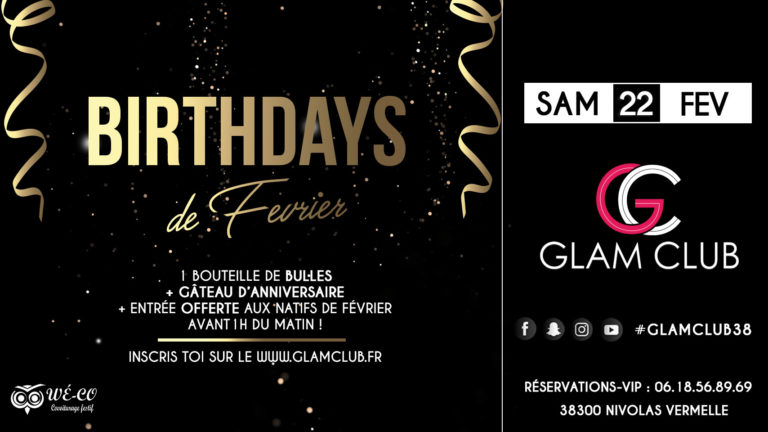birthdays, février, glam club, flyer